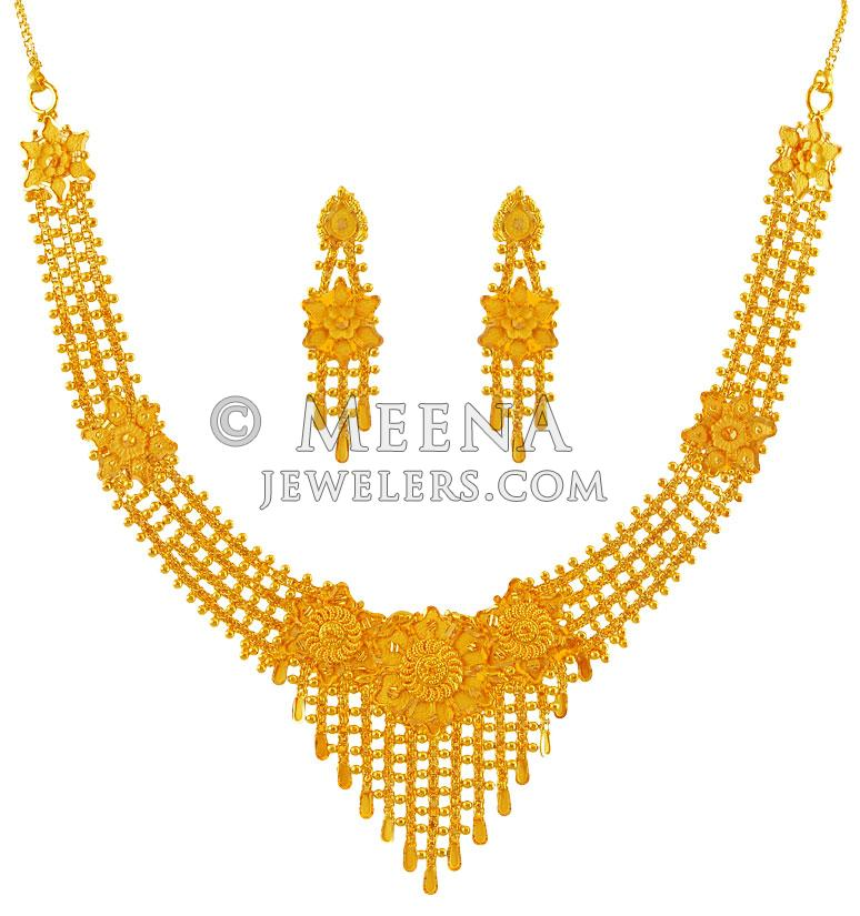22K Gold Necklace Earring Set - stls17768 - 22K Gold net style ...