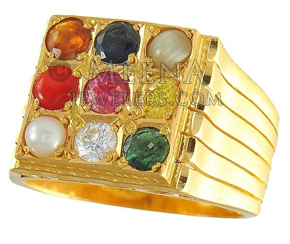 22K Navratan Men Ring RiMs3859 22K Gold Navratan Ring studded