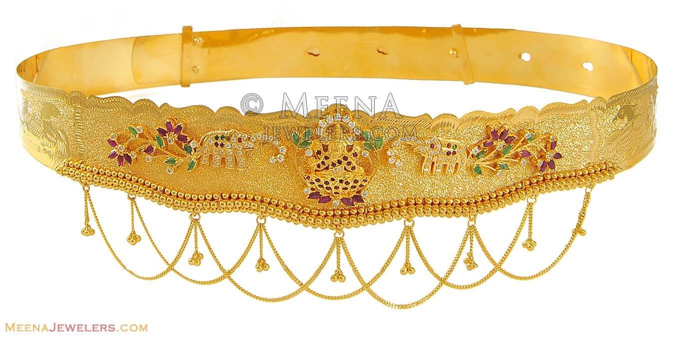 0e9a8d473931b 22K Gold Waist Belt / Vaddanam (kids) - MsKp8161 - 22K Gold Kammar ...