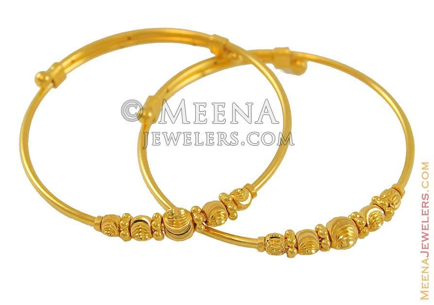 Yellow Gold Kids Bangles(set of 2) - BjBa7767 - 22k yellow gold ...