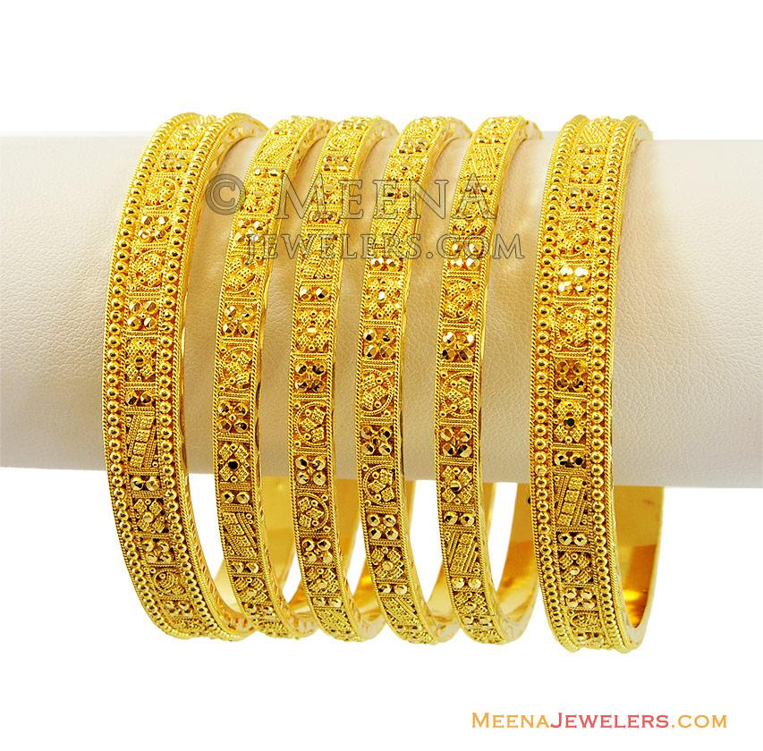 22k Indian Gold Bangles Set(4 Pc) - BaSt13363 - 22k indian gold ...
