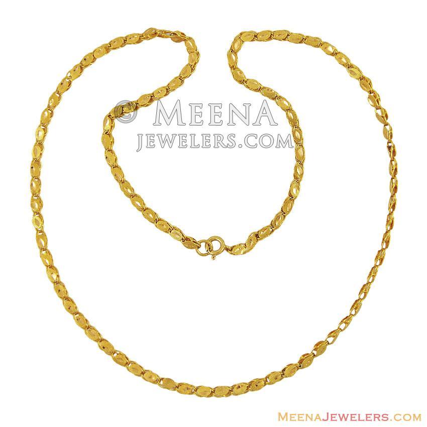 21k Gold Designer Chain - ChFc11826 - 21k yellow gold chain in ...