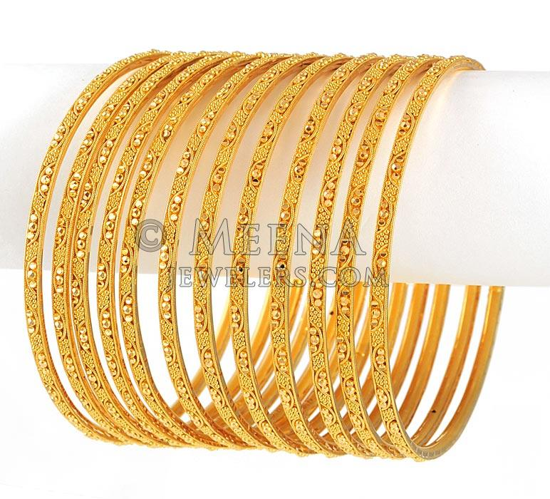 22Kt Gold Bangles BaSt4126 22kt Gold Bangles with full