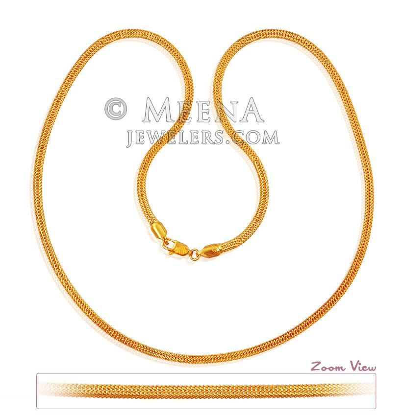 22k Gold Mens Chain Chms18476 22k Gold Chain Box Type Design In Shine Finish Hook Type Lobster Hook