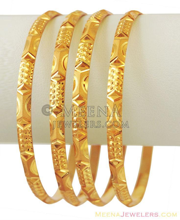 22K Fancy Gold Bangles(2 Pcs) - BaGo11462 - 22k gold bangles ...