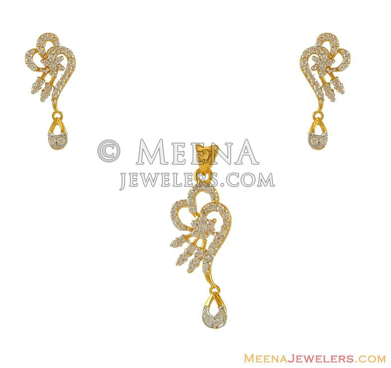 22k Fancy Gold Pendant Set Psfc7695 22k Gold Signity Pendant And Earring Set With Beautiful Design With Drop Hanging Earrings Type Sc