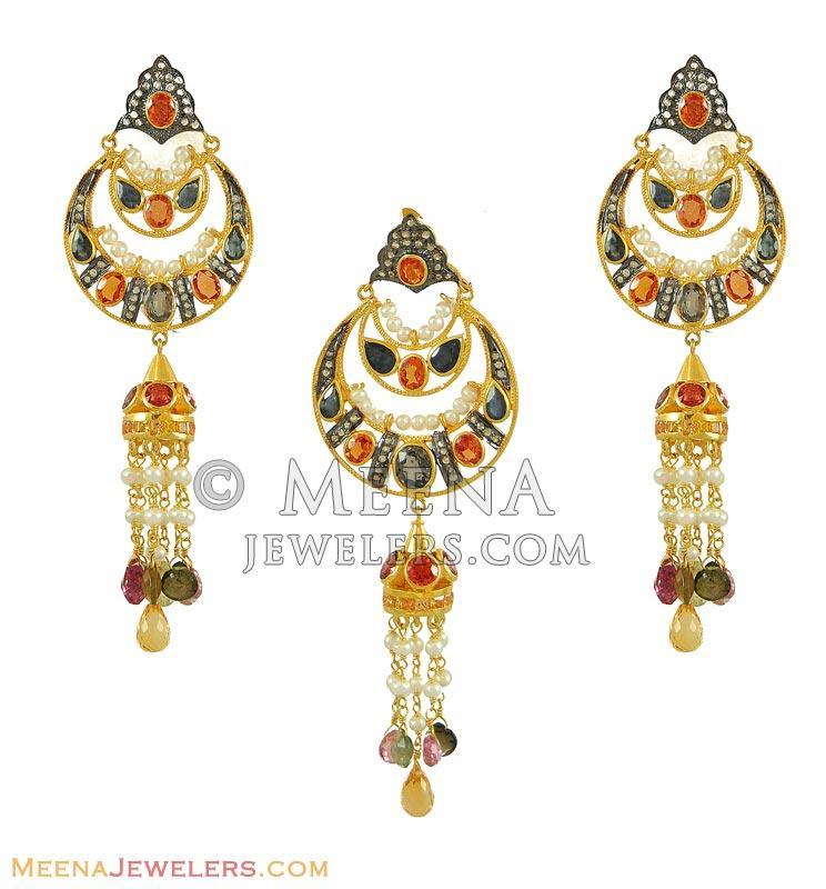 Nizam Diamond Pendant Set - DiAn8668 - Indian Nizam Diamond