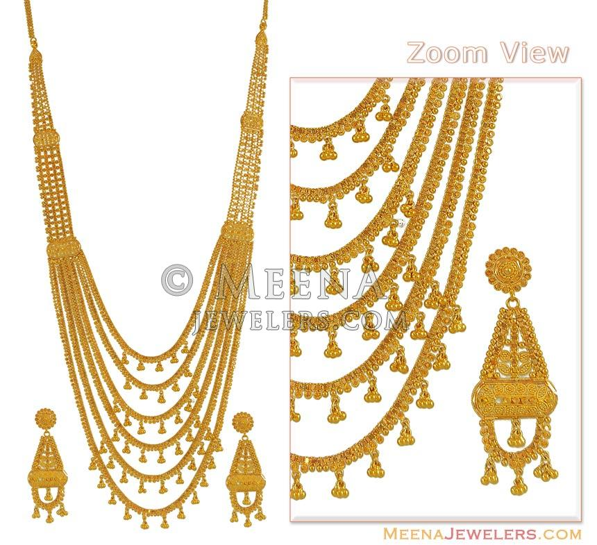 22Kt Gold ChandraHaar - StBr7381 - 22K Gold Necklace and Earrings ...