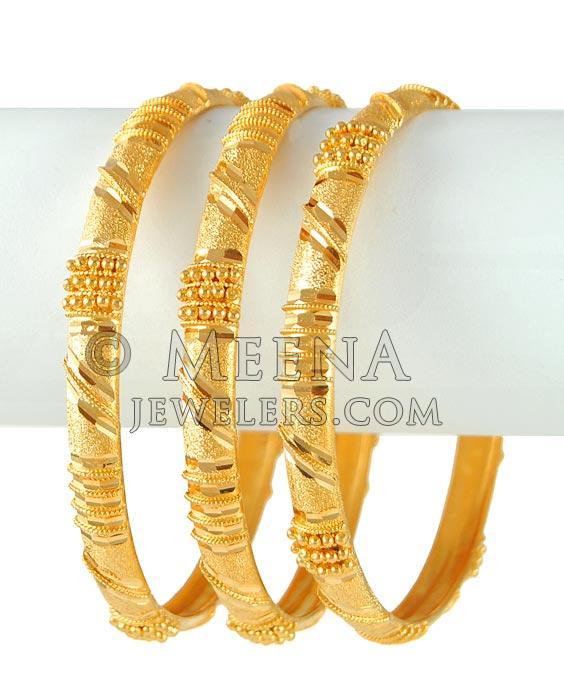 21k Gold Bangles Bago4231 21k Gold Hand Made Set Of 3 Bangles