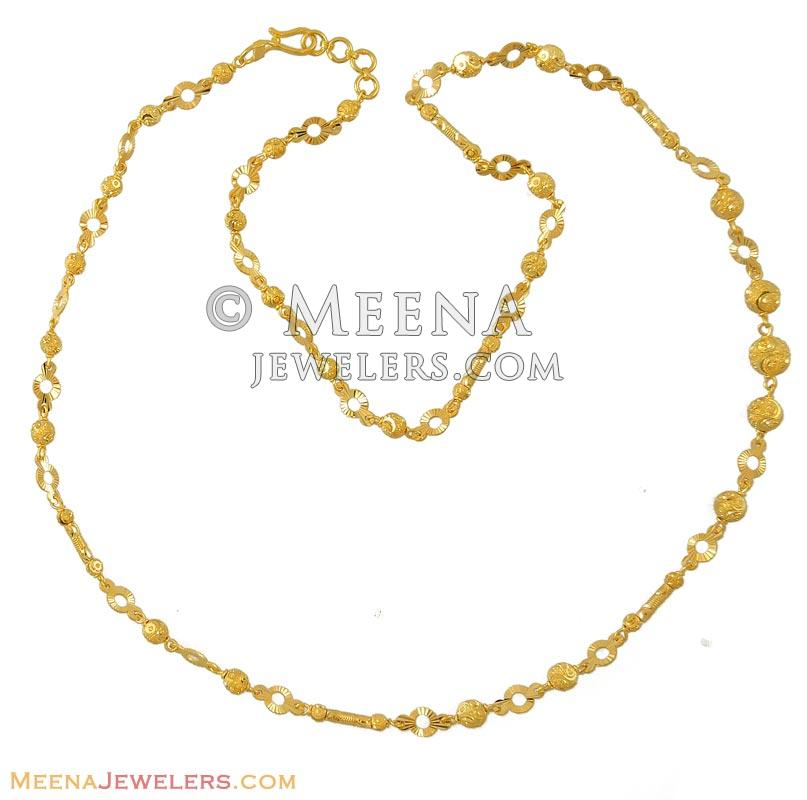 indian dokia gold yellow chains fancy necklace details chain