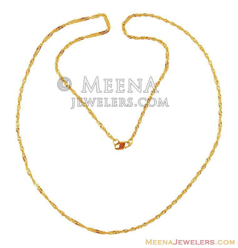 22K Yellow Gold Spiral Chain - ChPl15758 - 22k Gold chain in shine ...