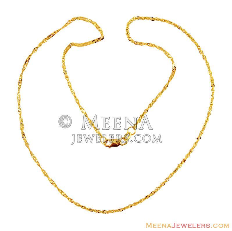 22K Gold Fancy Chain (16 Inch) - chpl15748 - 22K Gold Chain ...