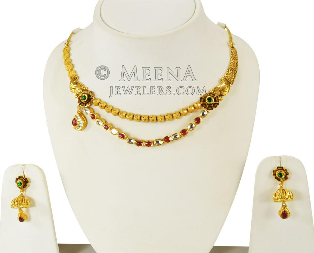 681bd76e0 22K Gold Antique Layered Set - StAn24367 - 22k Gold Necklace and ...