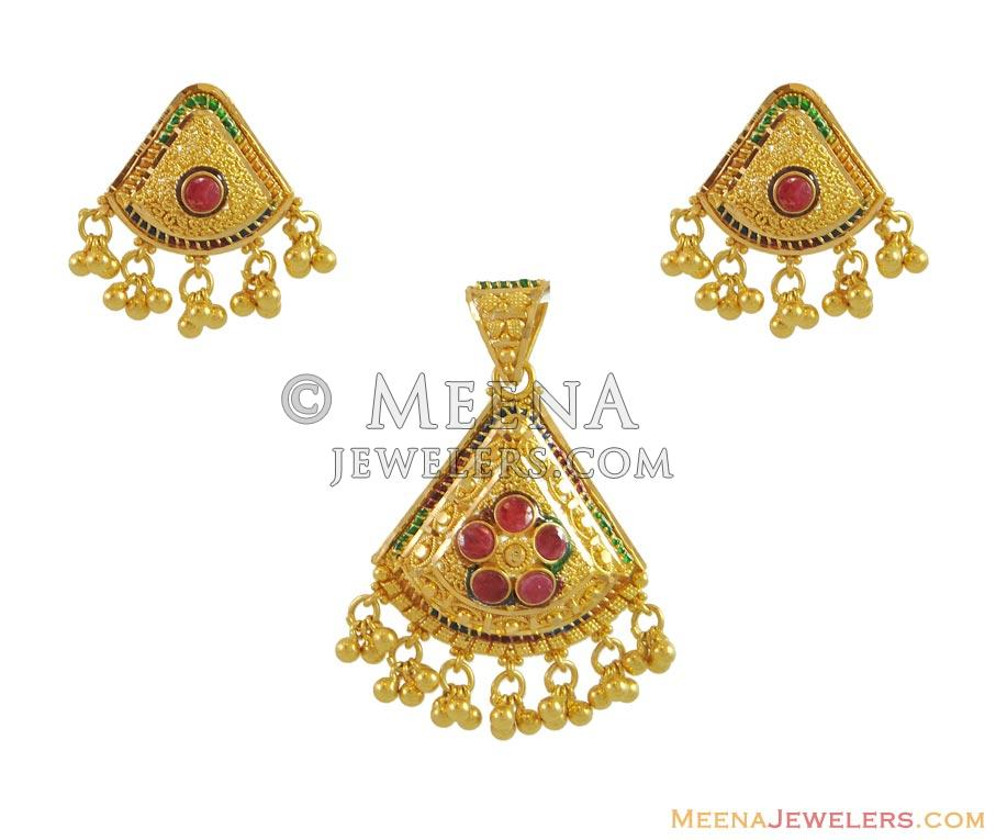 gold product laxmi pendant gajalskhmi sets water indian
