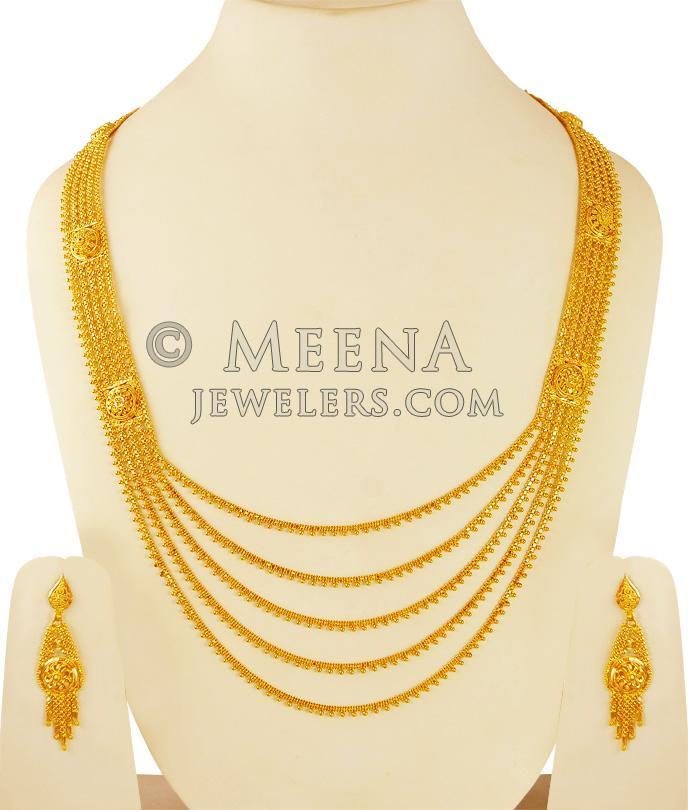 22k Yellow Gold Long Patta Haar - StBr21545 - 22K Yellow Gold ...