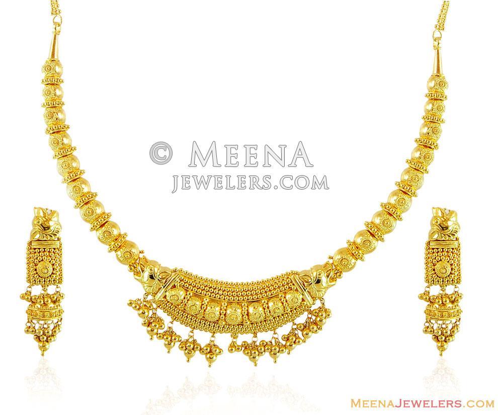 22k Traditional Indian Necklace Set - StGo15004 - 22K Gold ...