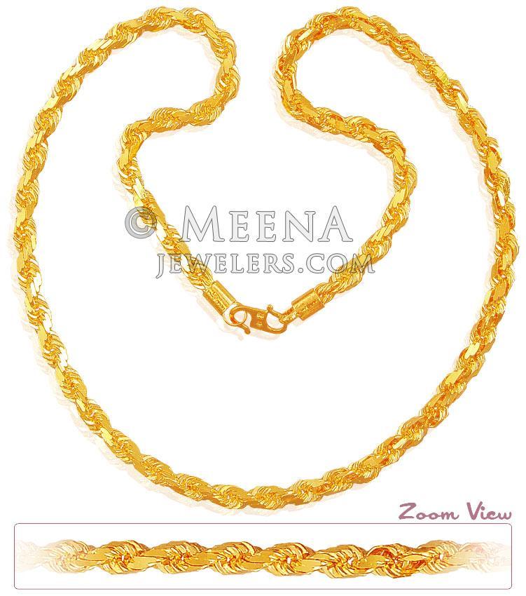 22K Rope Chain (22 Inch) - ChPl18567 - 22K Gold Heavy Rope chain ...