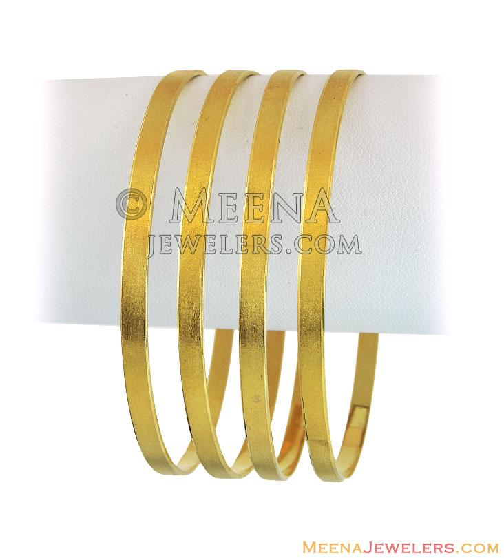 21k Plain Gold Bangles(2Pcs) - BaGo12366 - 21K Gold plain machine ...
