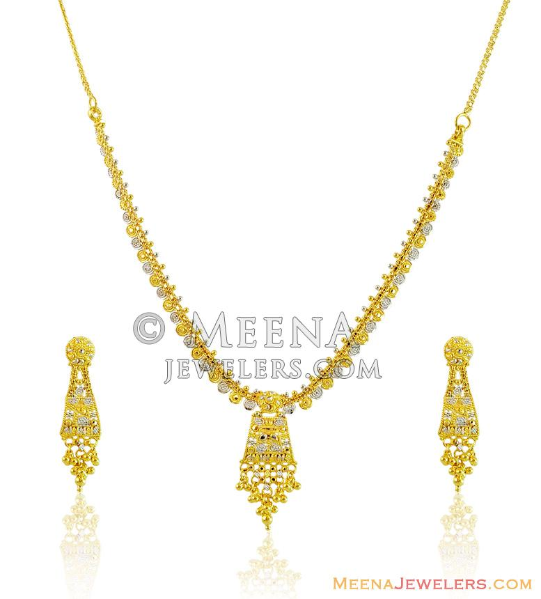 Fancy 2 Tone Light Weight Set 22k Stls14363 22k Gold Necklace And Earrings Set Designed With Filigree Work With Diamond Cuts In Combination Wit
