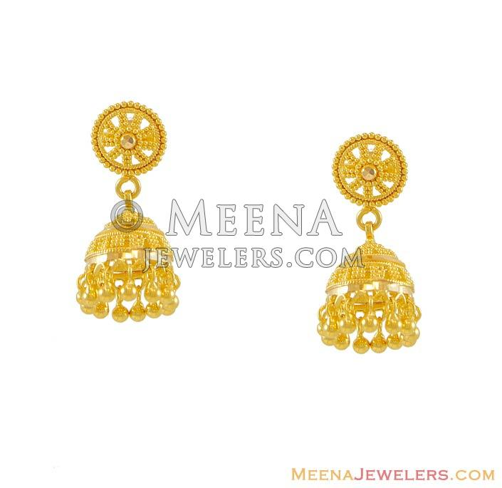 22K Gold Jhumka - erfc7950 - 22k Gold small earrings with jhumki ...
