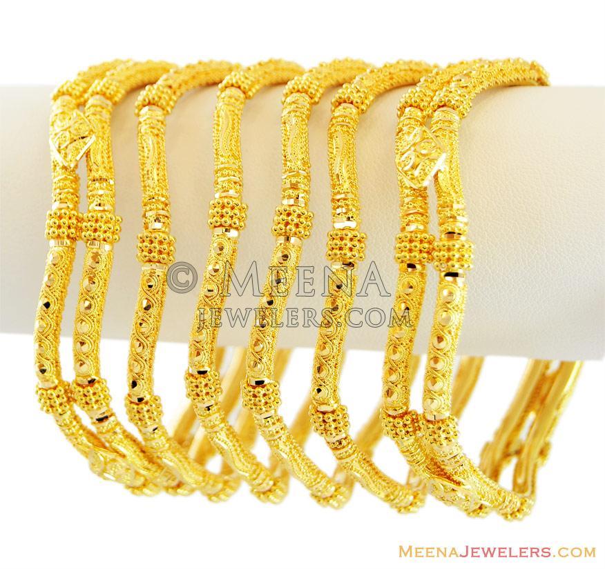 Indian Gold Bangles Set 22K - BaSt12841 - Indian gold bangles set (6 ...