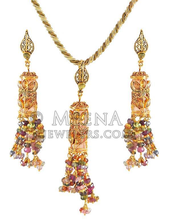 22kt gold antique pendant set psan4044 22kt gold pendant and 22kt gold antique pendant set aloadofball Image collections
