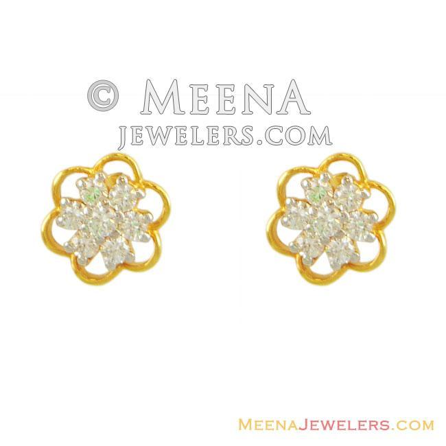 65fe784f5 22 Karat) Fancy Gold Tops with CZ - ErSi11637 - 22k gold earrings ...