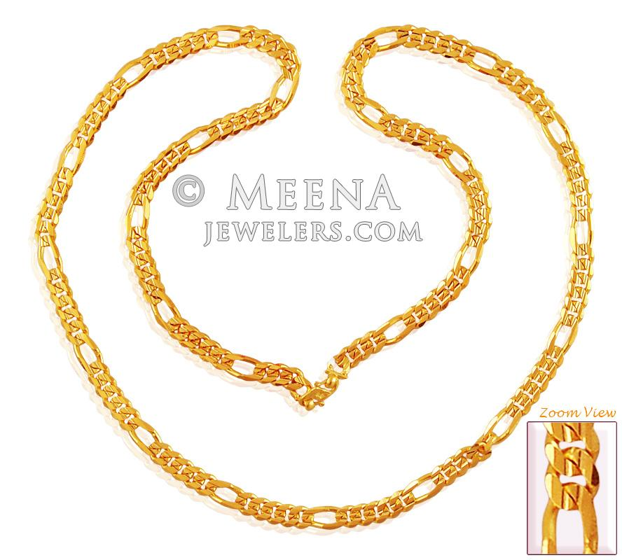 22k Gold Figaro Chain (23 In) - ChPl17389 - 22K Gold 23 Inches ...
