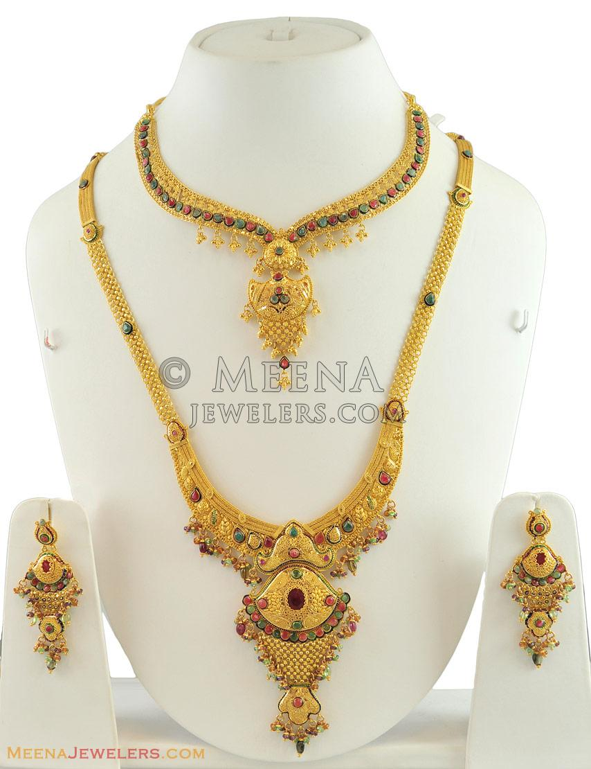 Beautiful 22 carat gold chains with matching pendant designs latest - 22k Gold Designer Bridal Set