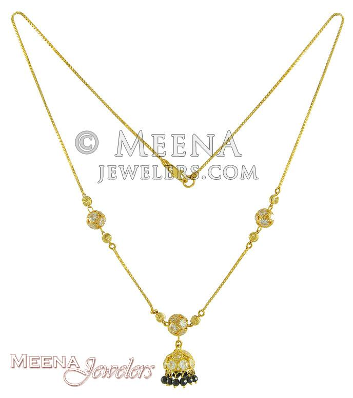 19472cffa72 22kt Gold Chain with CZ and Black colour Crystal Jhumki with Balls ...