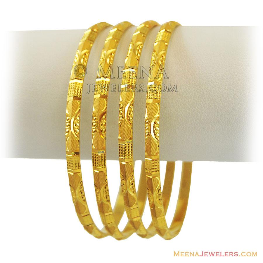 22k Simple Gold Bangles(Set of 2) - BaSt11457 - 22k yellow gold ...