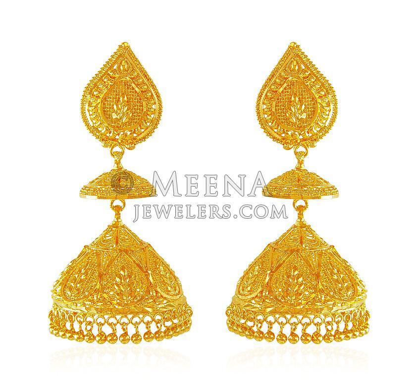 Jhumka Earrings 22 Karat Gold Erex20903 22k Gold Earrings Are