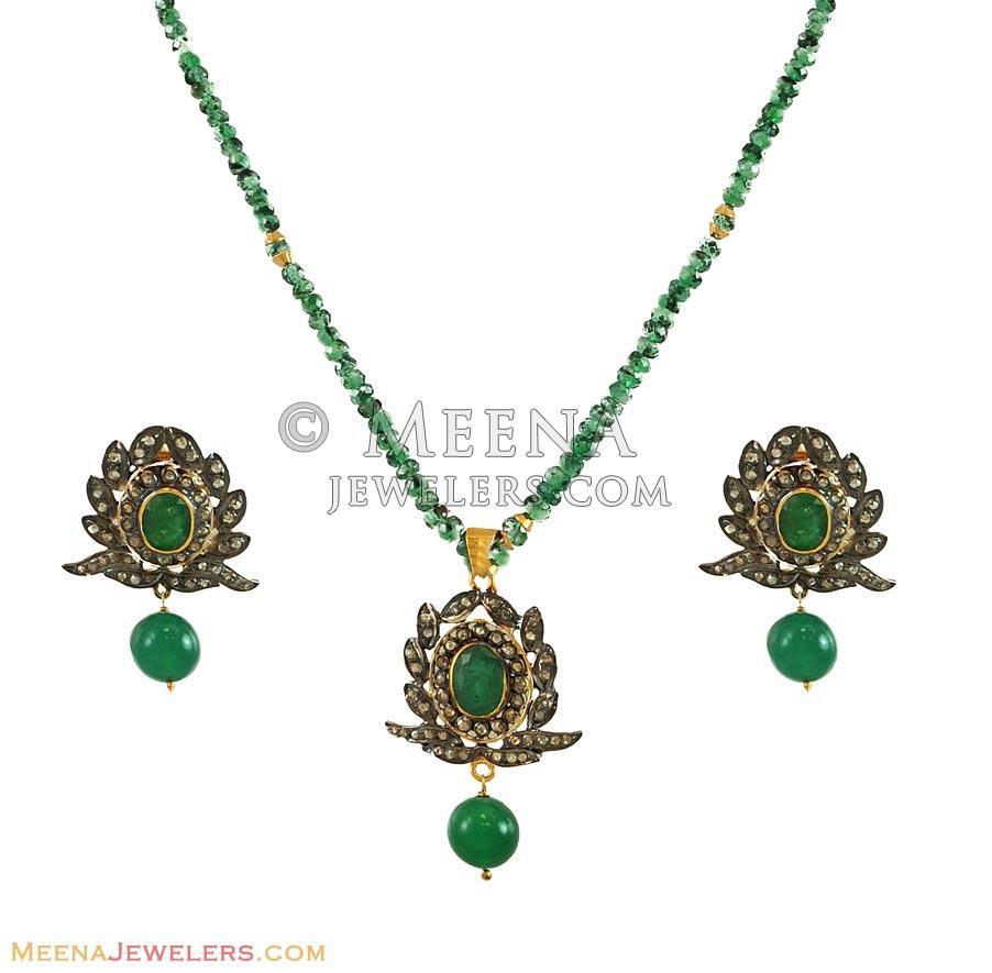 Victorian Pendant Set - DiAn10889 - Indian Gold Antique finished
