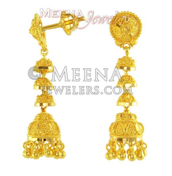 22kt Gold Fancy Earrings Erfc2019 Fancy 22kt Gold Jumki Style
