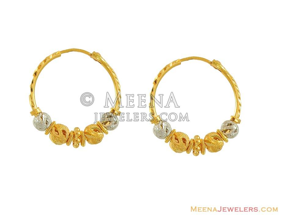 22k Two Tone Bali ErHp8348 22k gold designer hoops earrings