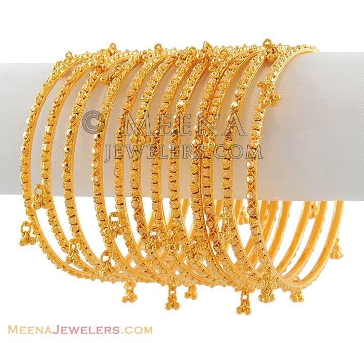 22Kt Gold Churi Set - BaSt4992 - 22Kt Gold Churis (set of 12 ...