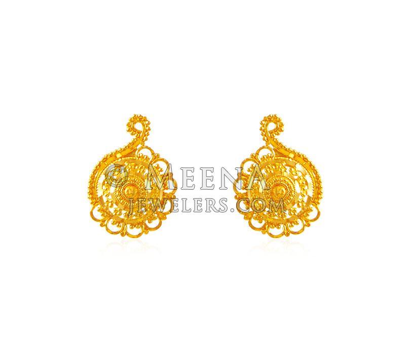 22k Indian Earrings - ergt18927 - 22K Gold Indian design earrings ...