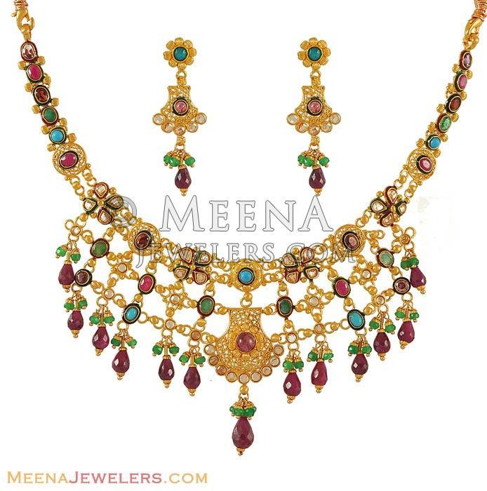 Antique Finish Necklace Set 22k Gold