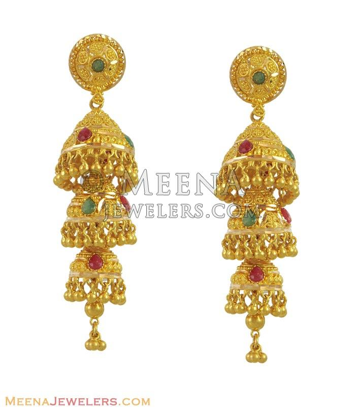 22k Precious Stones Jhumka Earrings - ErFc11121 - 22K yellow gold ...