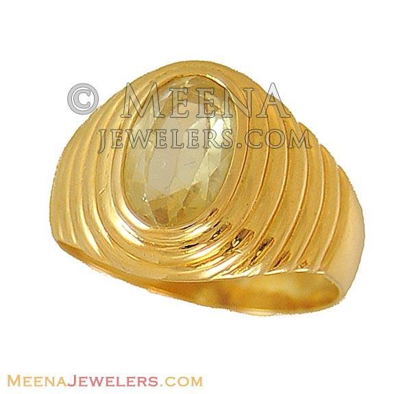 Indian Yellow Sapphire Ring 22K AsRi9581 22kt Yellow