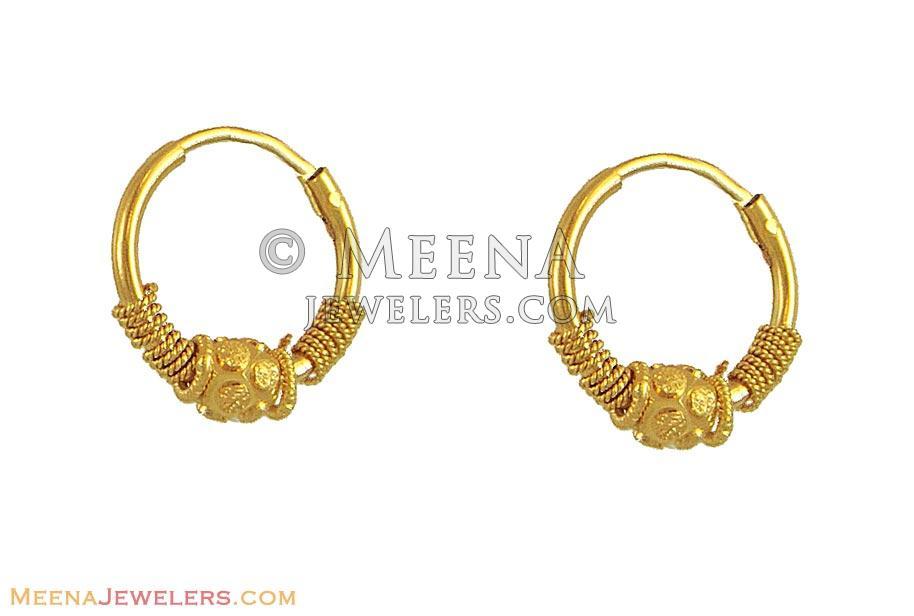 21k Gold Baby Hoops