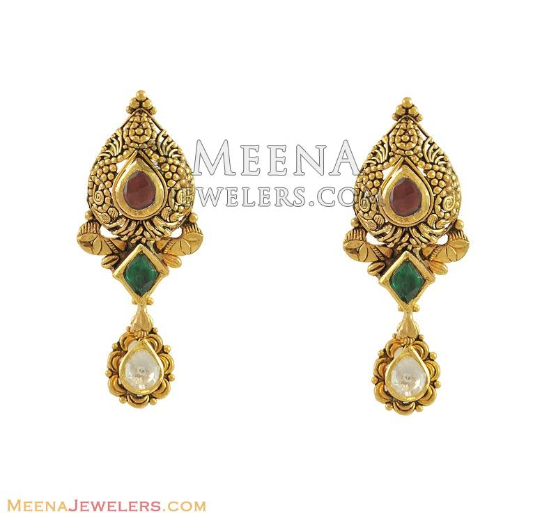 22k Antique Kundan Earrings ErFc11087 22k gold designer earrings