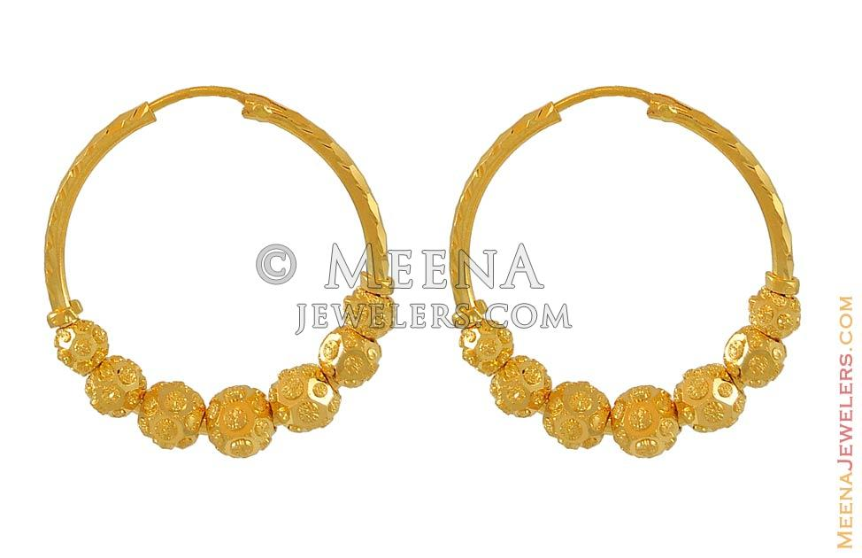 22k Gold Hoop Earrings ErHp6422 22Kt Gold Hoop Earrings with