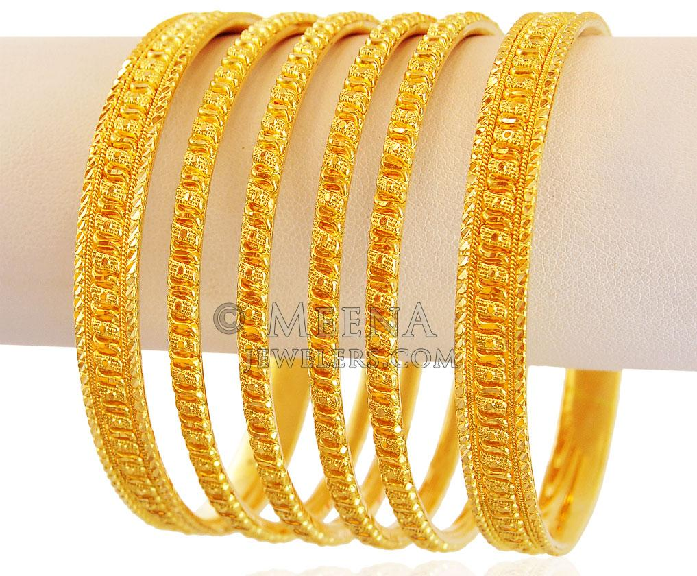 Gold indian bangles set of 6 new photo
