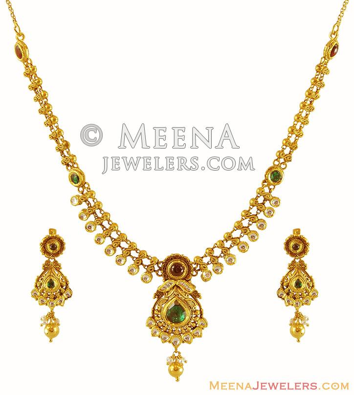 Light Weight 22k Gold Necklace Set