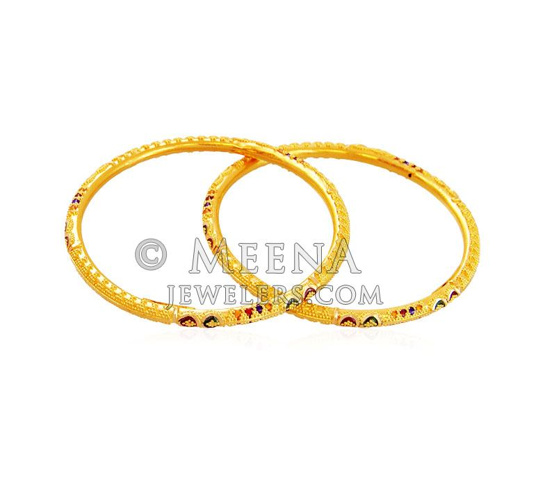 22K Gold Kids Meena Bangle (2 Pcs) - BjBa17526 - 22K Gold ...