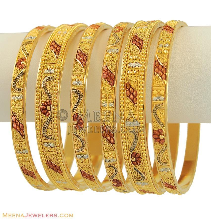 22k Gold 3 Tone Bangles Set - BaSt11279 - 22k gold Three ...
