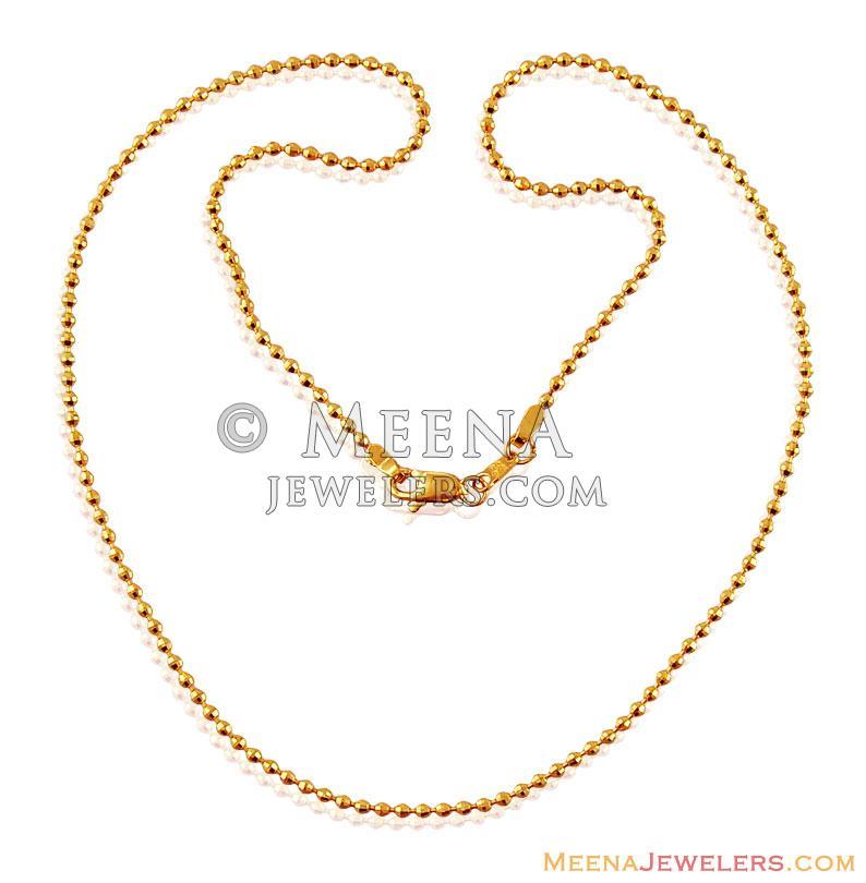 22K Gold Balls Chain - ChFc17069 - US$ 599 - 22K Gold Ladies chain ...