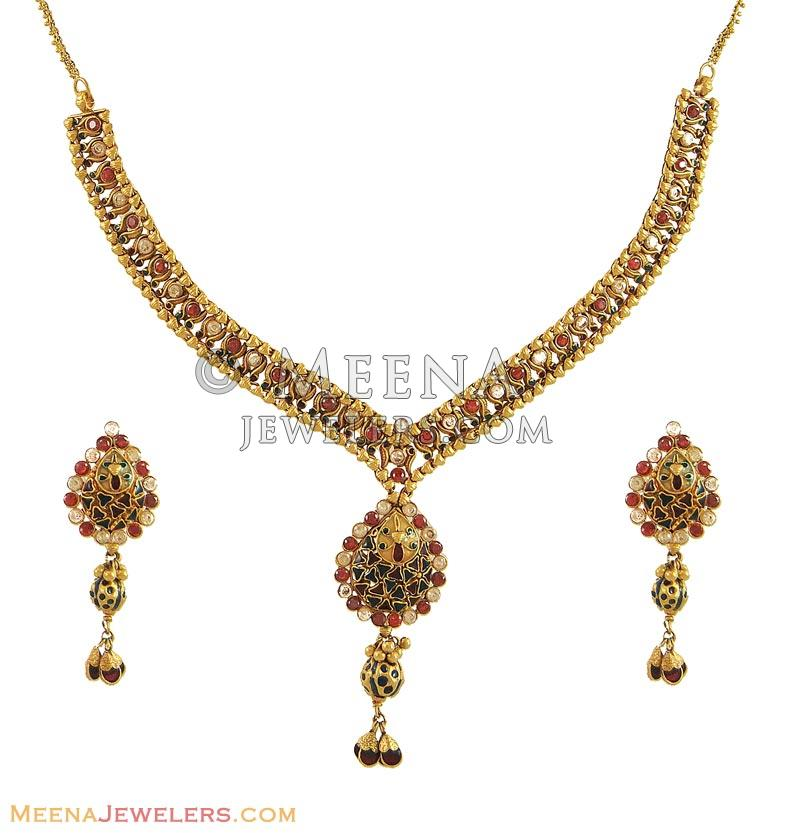 22K Gold Choker Necklaces Indian Gold Jewelry Buy Online