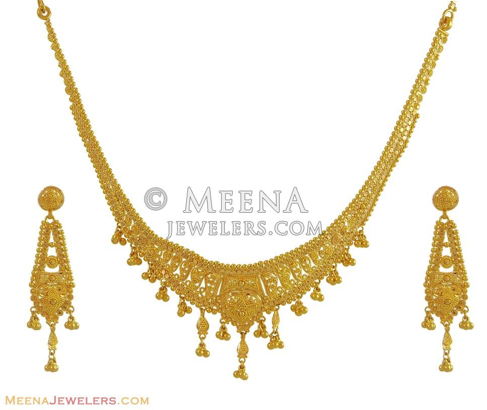 Gold Necklace And Earrings Set 22kt Indian Jewelry With: Indian Gold Necklace Set